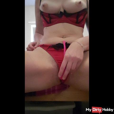 Dildo fuck and cum in naughty red lingerie