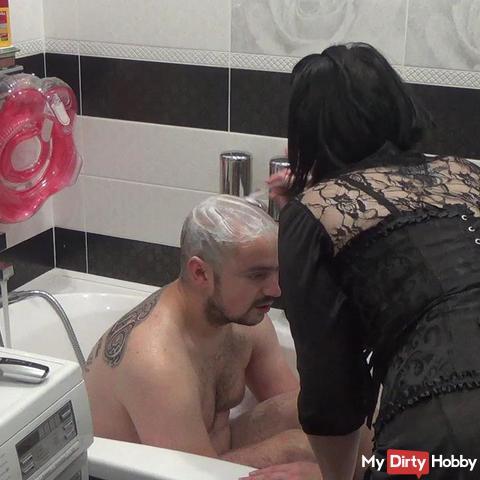 Mistress shaving head of her  slave bald Part2