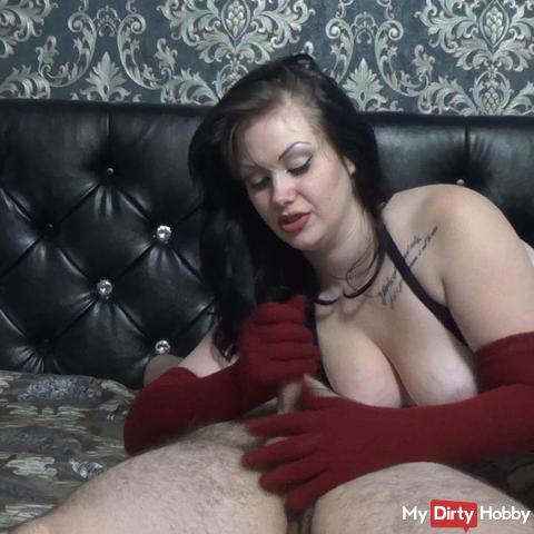 Teasing my slave with my long gloves and make him to cum