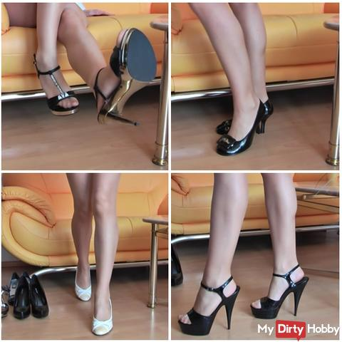 6 pairs of heels in nylon tights
