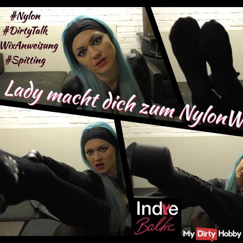 Lady makes you a nylon wanker - spitting, dirty talk, boots ...