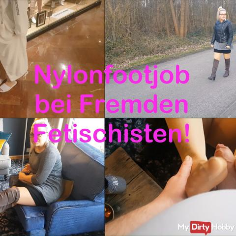 Nylonfootjob with foreign fetishists!