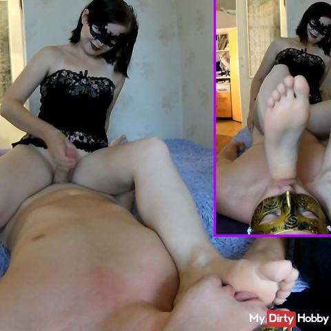 Foot domination and ruined orgasm