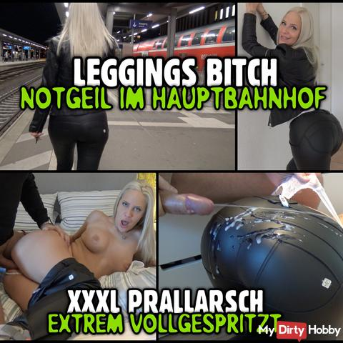 LEGGINGS BITCH in the main station | XXXL bounce ass extremely splashed