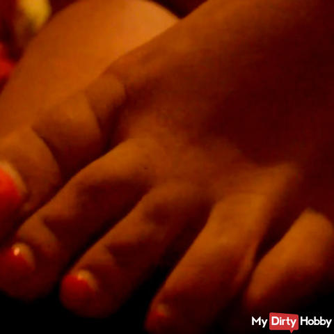 Horny footjob with cumshot and sperm playing