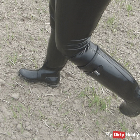 Rubber boots inaugurated water-filled walk leather wetlook leggings crushing