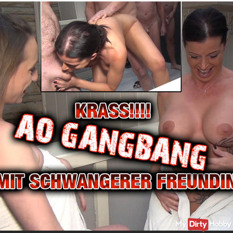 AO gangbang with a pregnant girlfriend