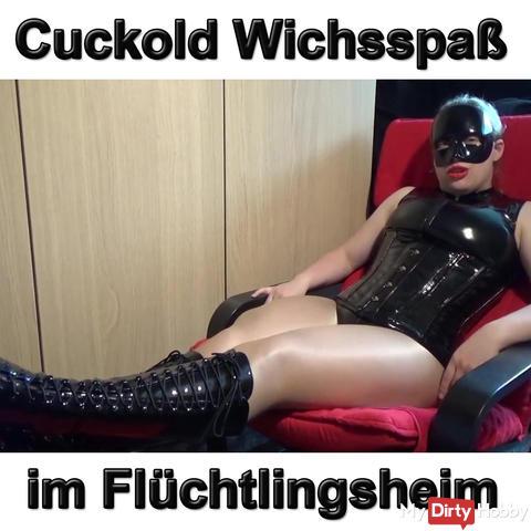Cuckold Wichsspaß in the refugee home