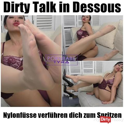 Dirty Talk in lingerie - nylon feet seduce you to inject