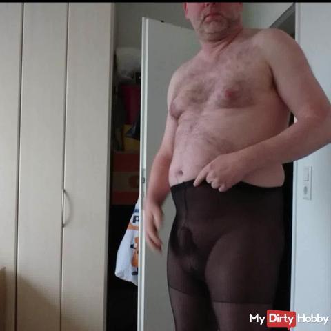 T-shirt fitting in borrowed tights ** Peterto Nylon Fun **