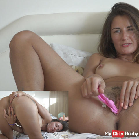 My funny solo with panties inside the pussy