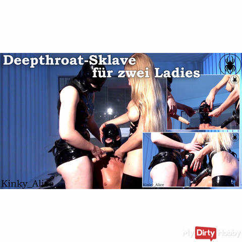 Deepthroat slave for two ladies