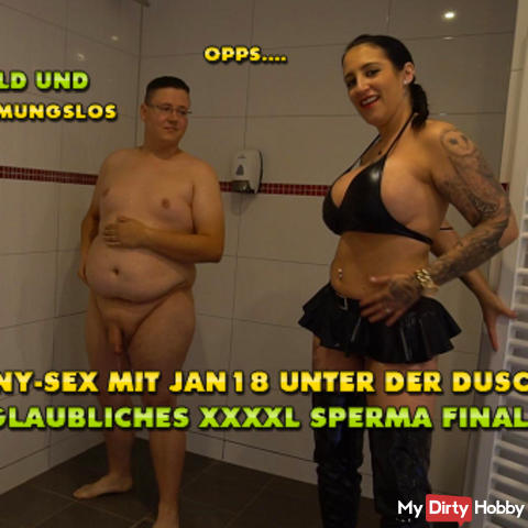 Teeny-sex with Jan18 in the shower! Incredible XXXL sperm finale !!!