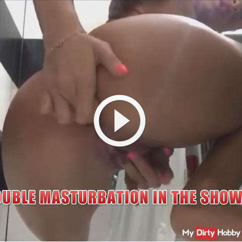 Double masturbation in the shower