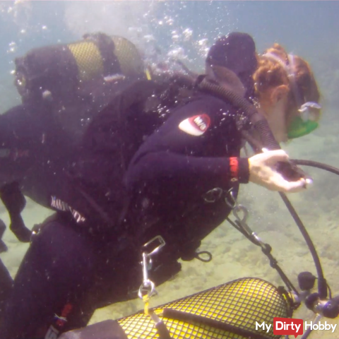 Diving with a client