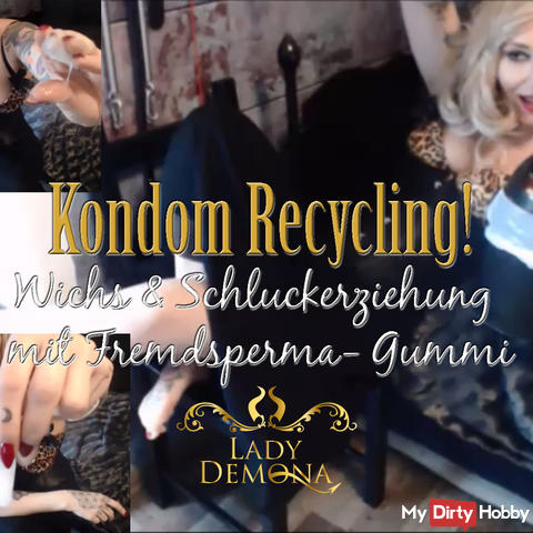 Condom Recycling! Wank and swallow education with vollgewichstem rubber! | by Lady_Demona