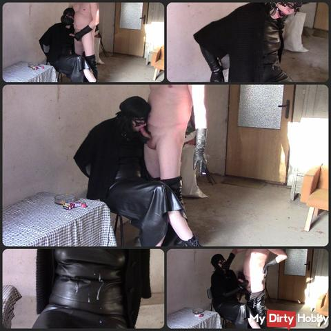 Cum on my leather (handjob, blowjob and wank)