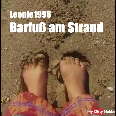 Barefoot on the beach. Run over the sand. (Barefoot Beach Walk)