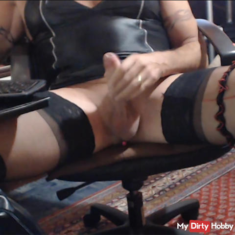 agespritzt with my leather mini dress and vibration Toy in the ass