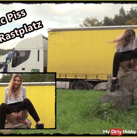 Public Piss at the motorway car park!