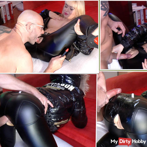 Horny leather leggings and bomber jackets Girl licked, fucked and sprayed