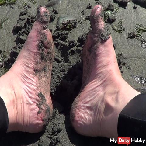 Dirty sandy feet