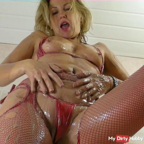 Rubbed with custard in red micro bikini