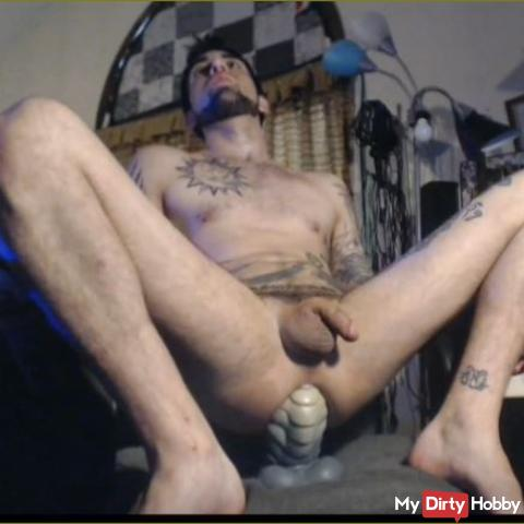 on computer chair stretchin sexy hole w massive Bad DRagon