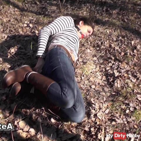 Hogtie On Dirty Forest Floor