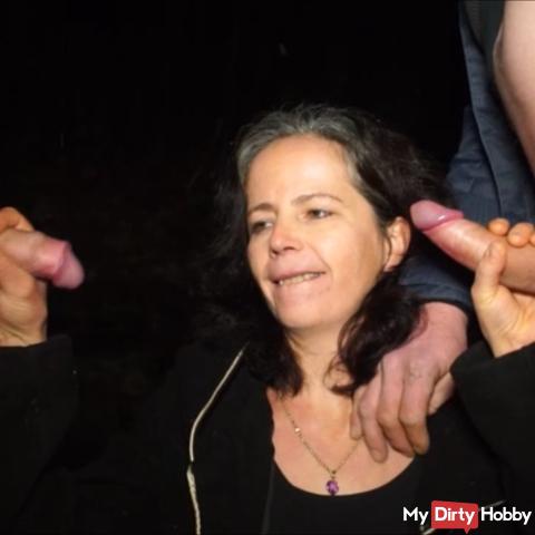 Horny pee break at the parking lot