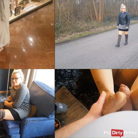 Strange foot fetishist gets pantyhose footjob!