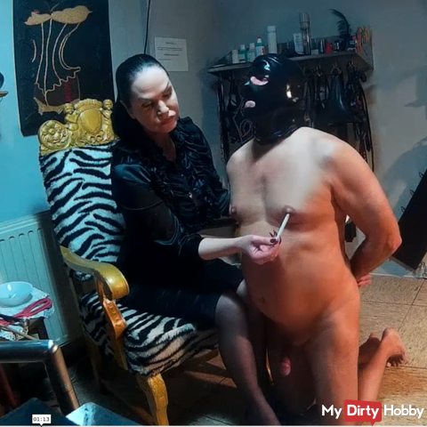 Chastisement of the slave with rod and cigarette