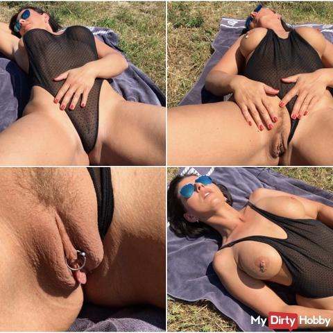 Wanked public in Wicked Weasel swimsuit