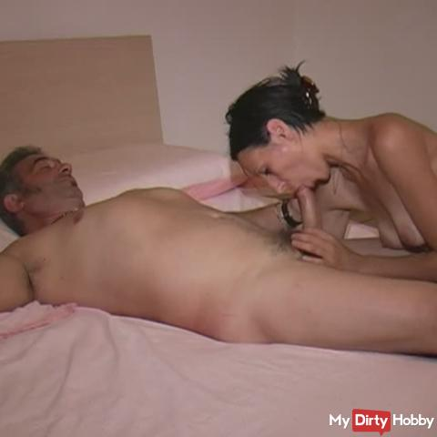 Ioana, attempting a blowjob to her partner Riccardo.