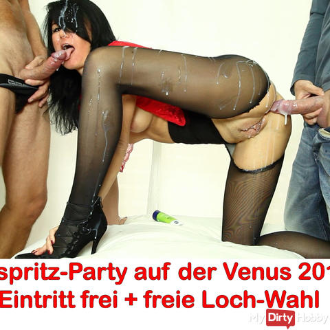 Cumshot party in the club room of the Venus fair 2017