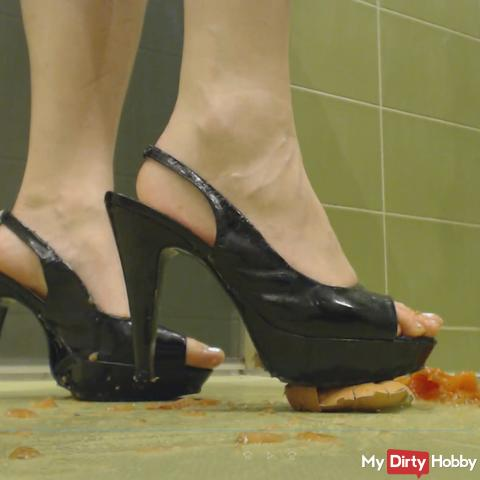 Crushing food in high heels and bare feet