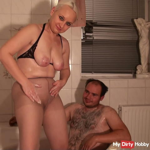 In fine pantyhose showered + cock stick hard-fisted.