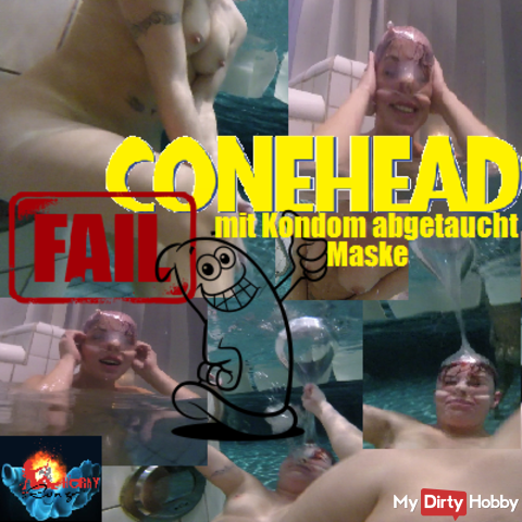 Conehead Fail - submerged with Condom Mask