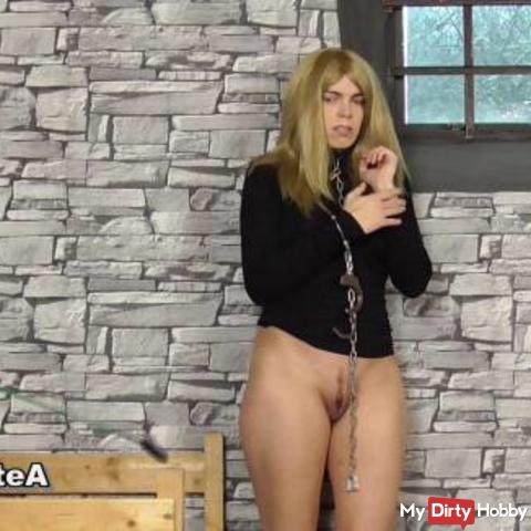 Blonde Girl Has To Take Off Clothes With Cuffed Hands