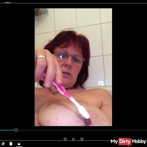 Nipple is with toothbrush