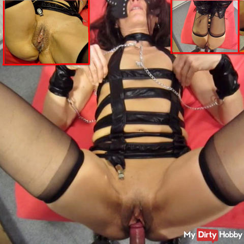 Creampie fuck in leather strap body + suspenders