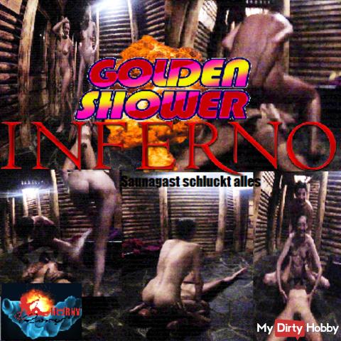 Golden Shower Inferno - Sauna Guest Swallows everything