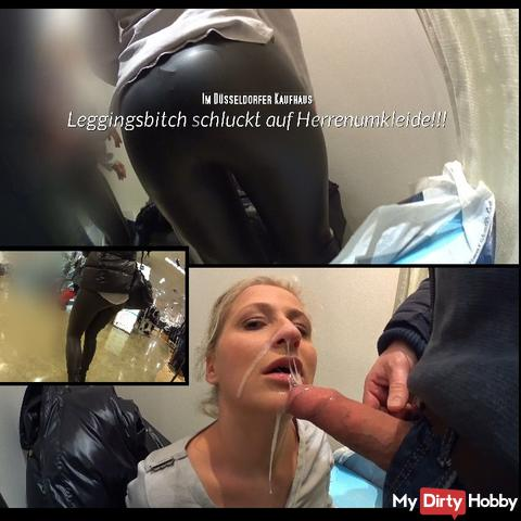 Leggingsbitch swallows on Herrenumkleide !!!