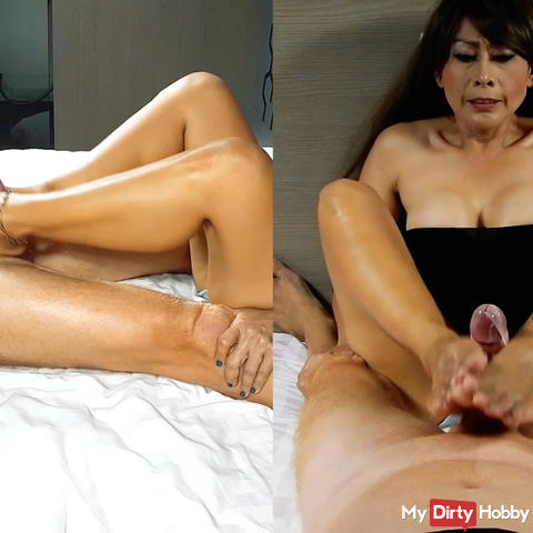 Custom clip - Jerking a big dick with my bare feets for cumshoot Part 2