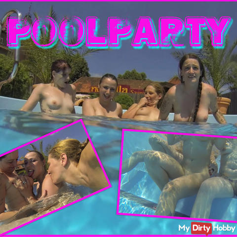Horny lesbians play in the pool