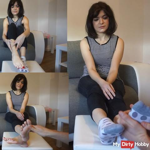Lilli. Sock and foot massage. Socks and foot tease. Part 1 of 3.