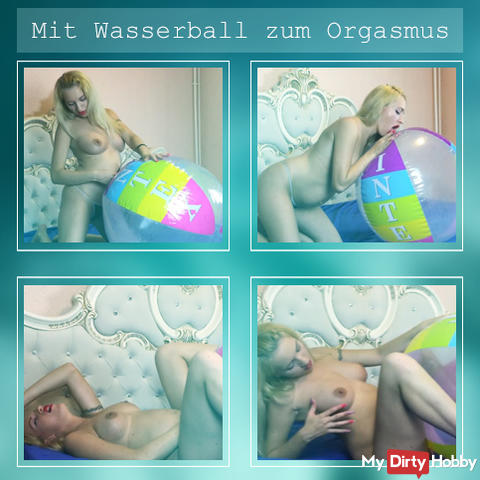 With beach ball to orgasm