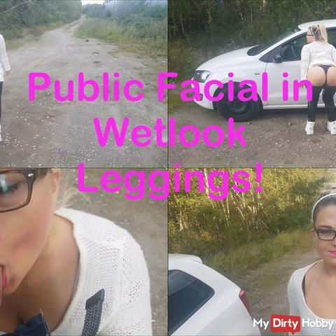 Public Facial in Wetlook Leggings!