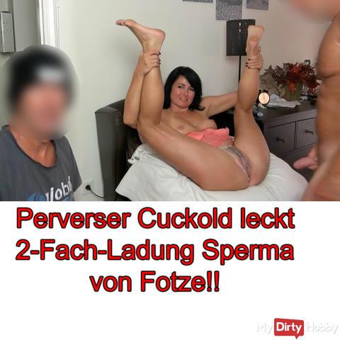 Perverser Cuckold leckt 2-Fach-Ladung Sperma von Fotze!!
