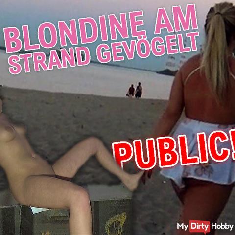 Blondine am Strand gevögelt